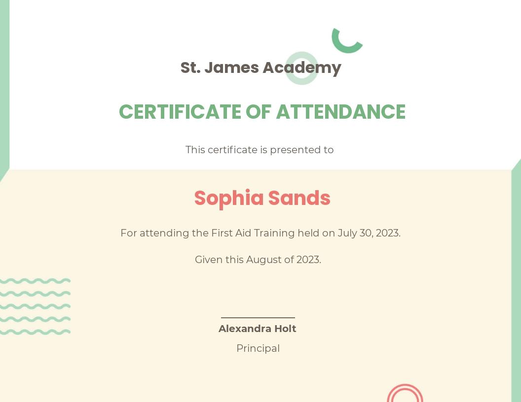 Attendance Certificate Template For Schools