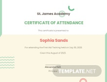 Attendance Certificate Template For Schools