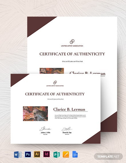 Authenticity Certificate Of Artist