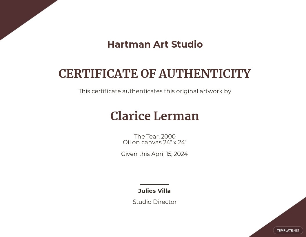 Authenticity Certificate Of Artist Template