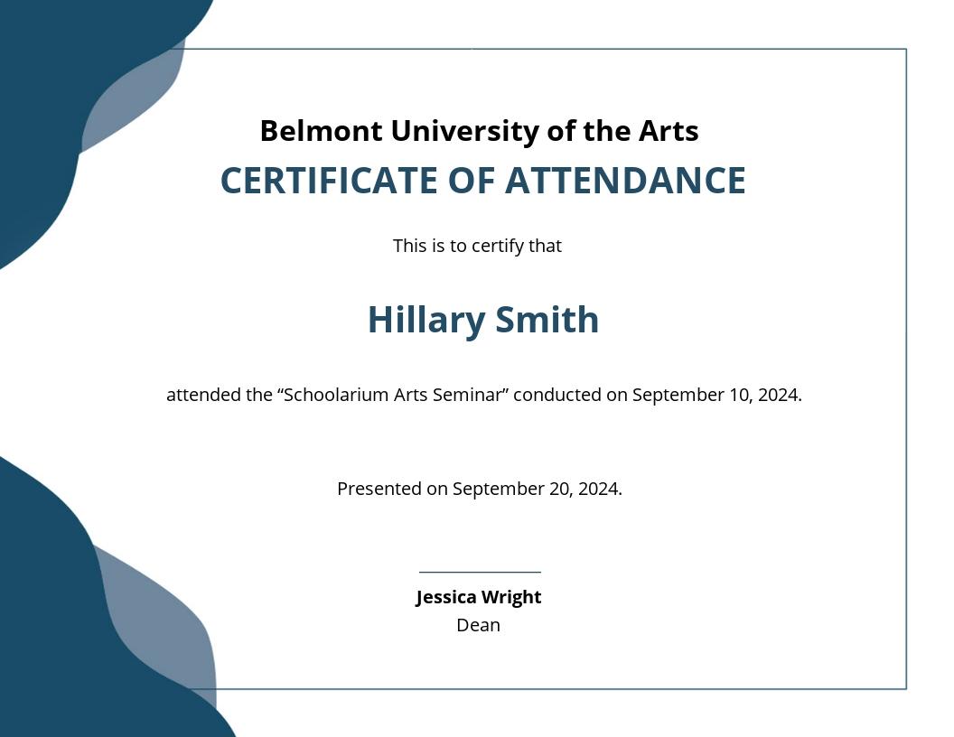 Attendance Certificate Template For Teachers