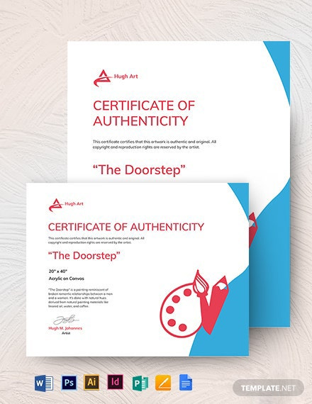 Authenticity Certificate Painting Template
