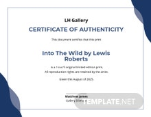 Authenticity Certificate Photography Template
