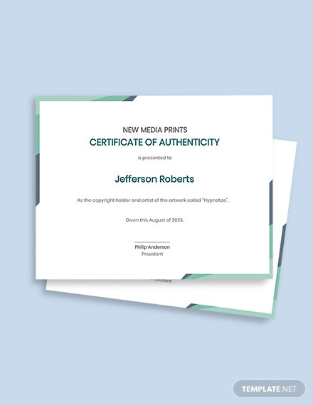 Authenticity Fine Art Prints Certificate
