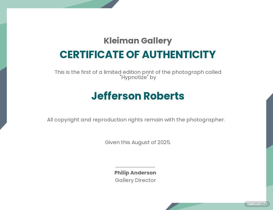 Authenticity Fine Art Prints Certificate Template
