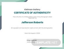 Authenticity Fine Art Prints Certificate Template