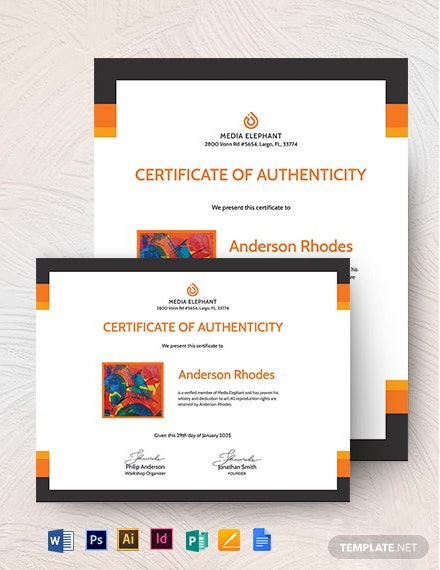 Authenticity Certificate With Photo