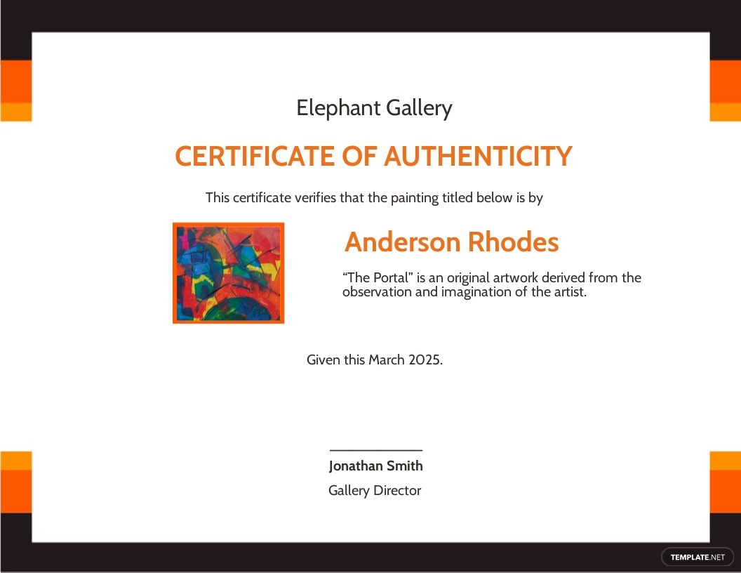 Authenticity Certificate With Photo Template