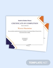 Balance Fitness Certificate Template