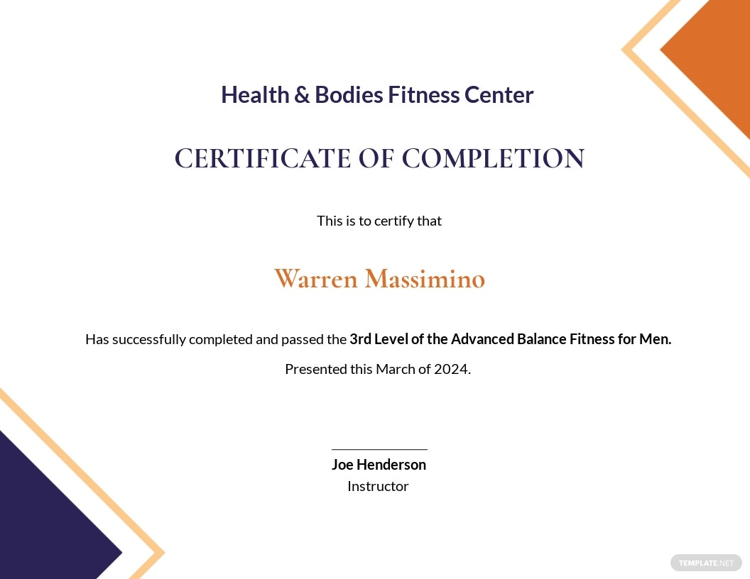 Balance Fitness Certificate Template