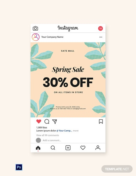 Free 30% Off Holiday Sale Instagram Post Template