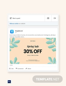 Free 30% Off Holiday Sale LinkedIn Blog Post Template
