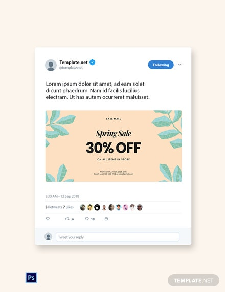 Free 30% Off Holiday Sale Twitter Post Template