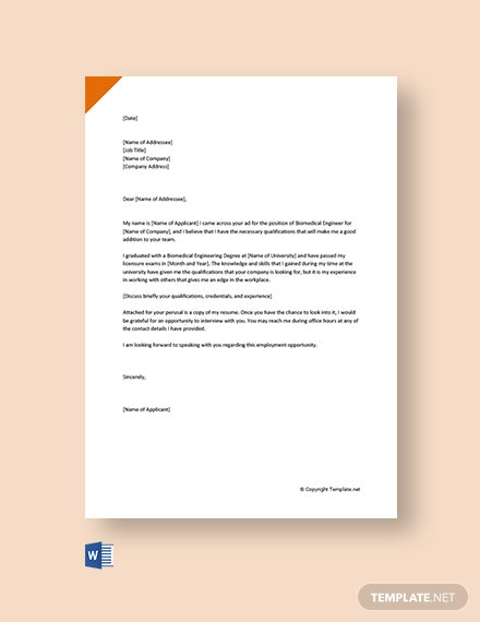 FREE Biomedical Engineering Cover Letter Template - Word ...