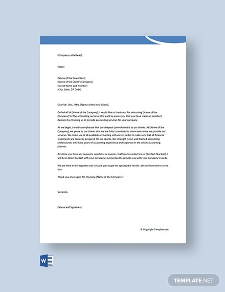 Free Business Welcome Letter for New Client