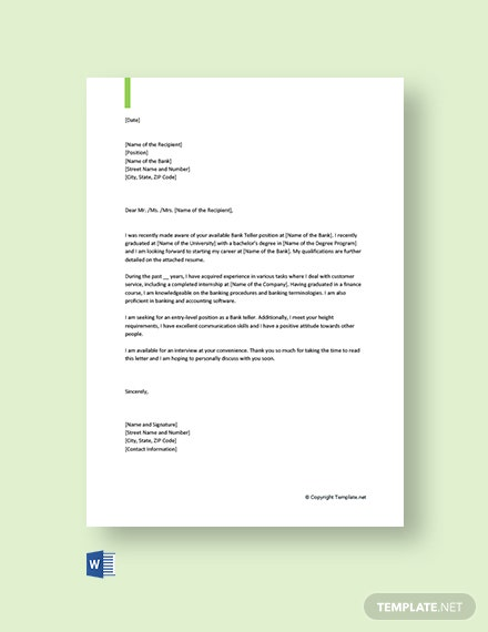 Free Cover Letter for Bank Job Application