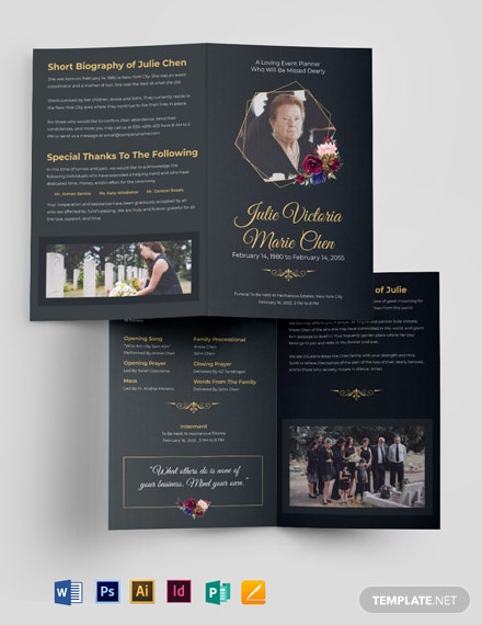 Modern Funeral Service Bi-Fold Brochure Template [Free Publisher] - Illustrator, InDesign, Word, Apple Pages, PSD
