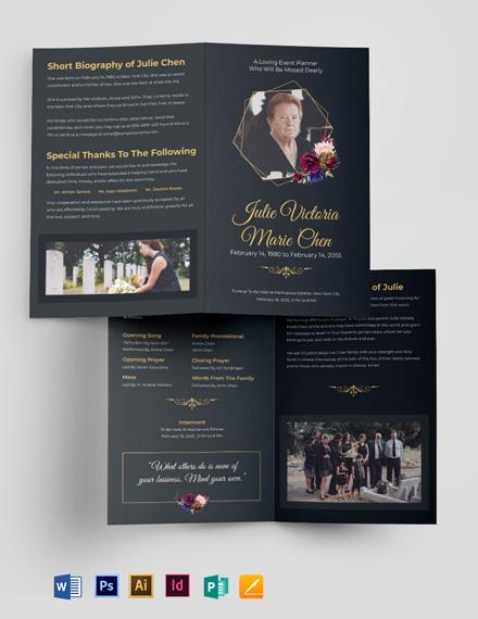Modern Funeral Service Bi-Fold Brochure Template