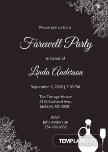 Free Chalkboard Farewell Invitation Template