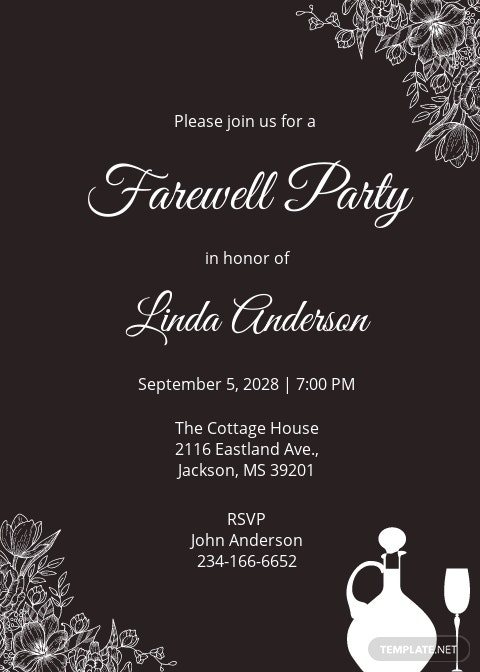 Chalkboard Farewell Invitation Template