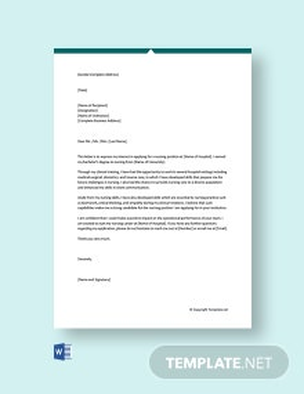 Free Registered Nurse Cover Letter