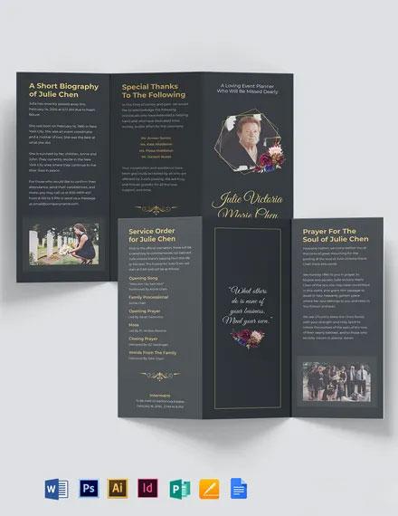 Modern Funeral Service Tri-Fold Brochure Template