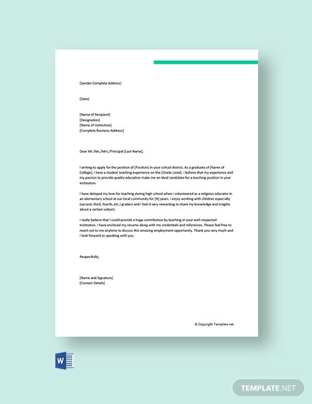 Free Teacher Cover Letter