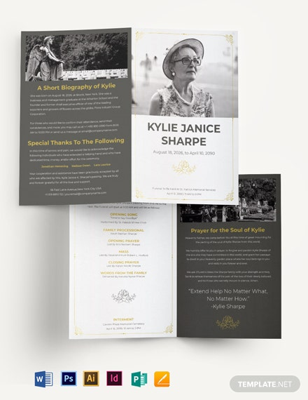 Mother/ MOM Eulogy Funeral Bi-Fold Brochure Template
