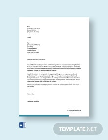 Free Thank You Letter After Resignation from Job