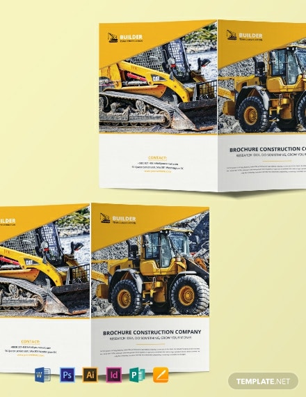 Free Construction Equipment Brochure Template