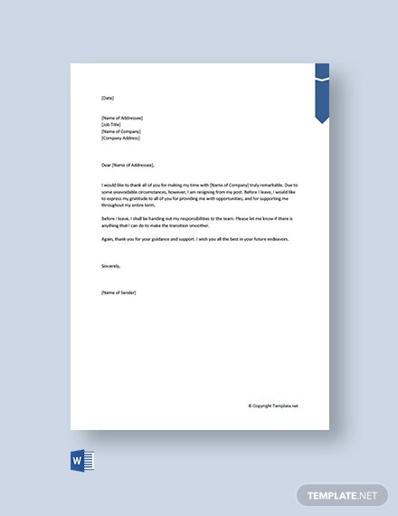 Free Thank You Resignation Letter to Coworkers