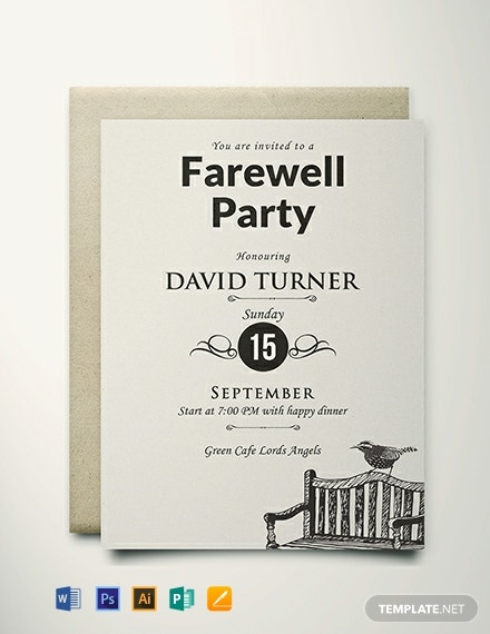 Free Vintage Farewell Party Invitation Template