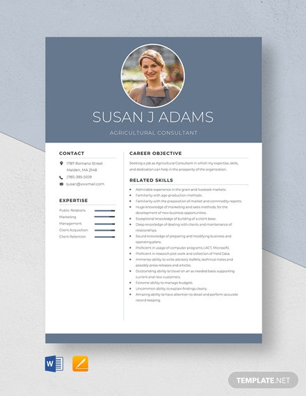 Agricultural Consultant Resume Template