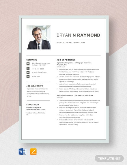 Agricultural Inspector Resume Template