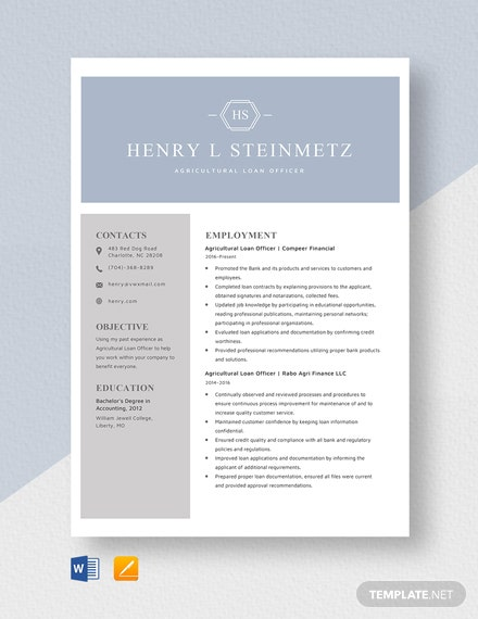 Agricultural Loan Officer Resume Template