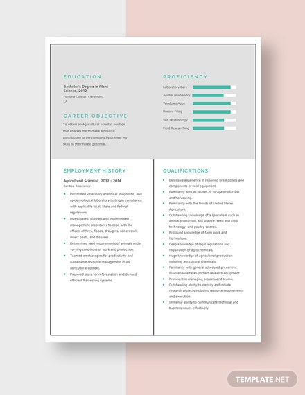 Agricultural Scientist Resume Template