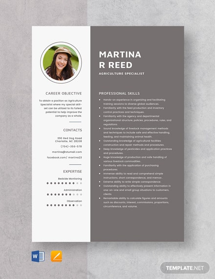 Agriculture Specialist Resume