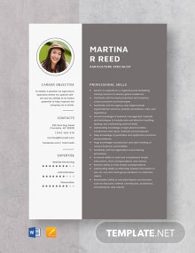 Agriculture Specialist Resume Template