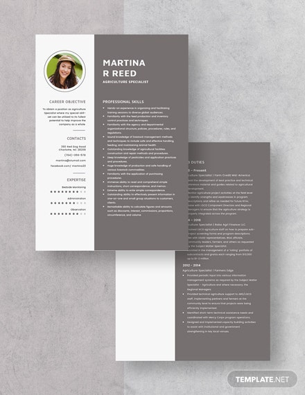 Agriculture Specialist Resume Download