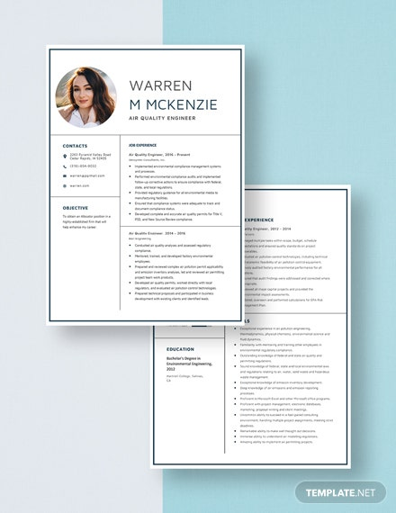Air Quality Engineer Resume Download