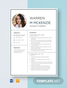 Air Quality Engineer Resume Template