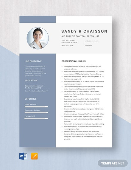 Air Traffic Control Specialist Resume Template
