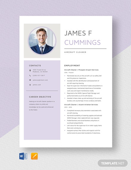 Aircraft Cleaner Resume Template