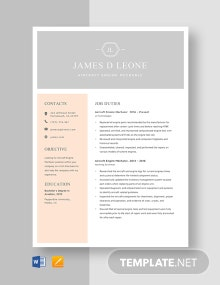 Aircraft Engine Mechanic Resume Template