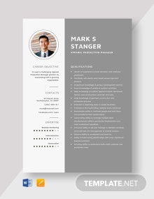 Apparel Production Manager Resume Template