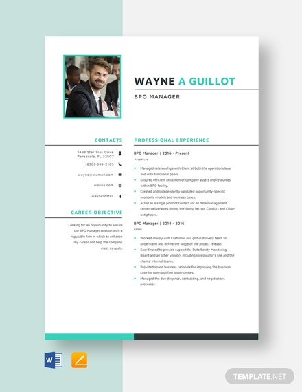 BPO Manager Resume Template