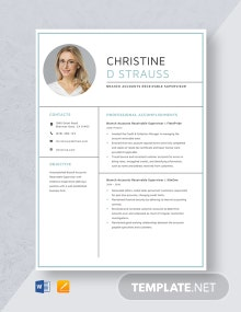 Branch Accounts Receivable Supervisor Resume Template