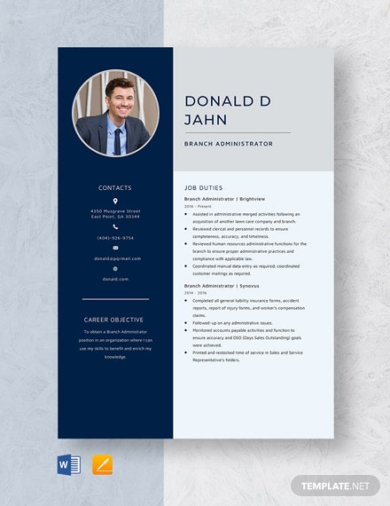 Branch Administrator Resume Template