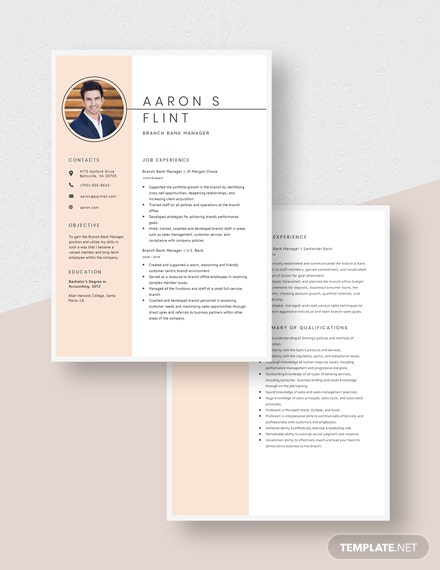 Branch Bank Manager Resume Download