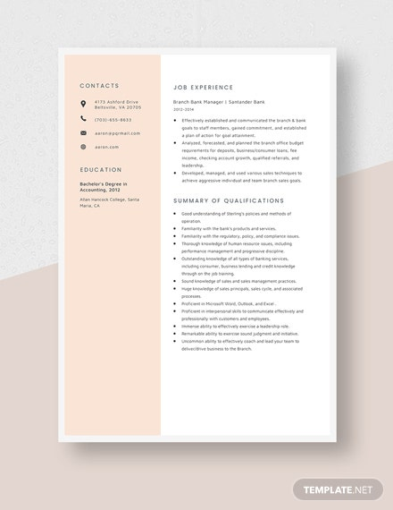 Branch Bank Manager Resume Template